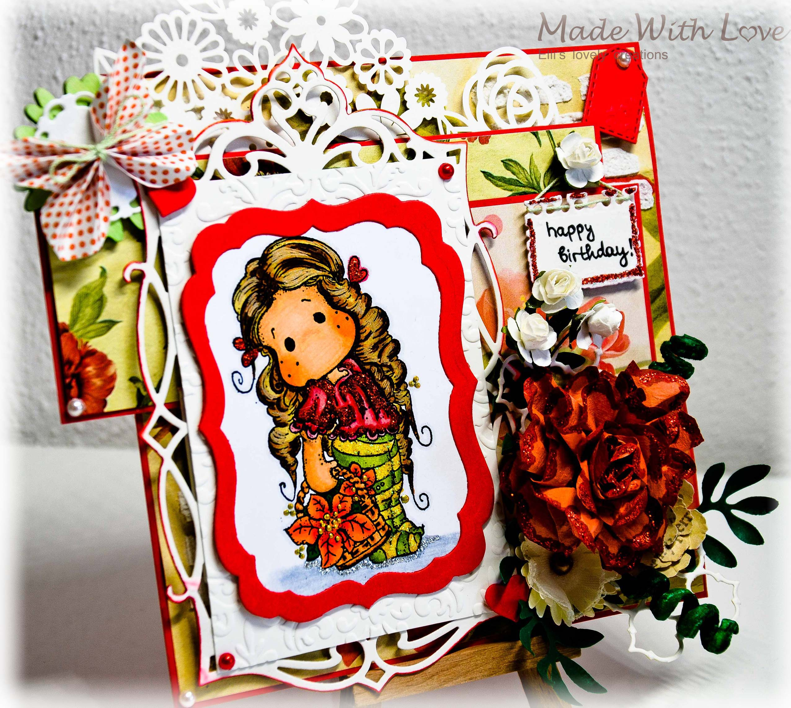 Magnolia Tilda Birthday Card In Red