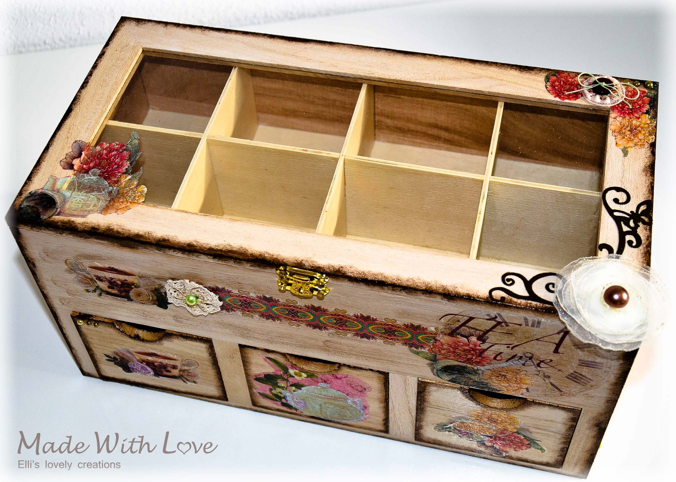 Wooden Tea Box / Decoupage Technique