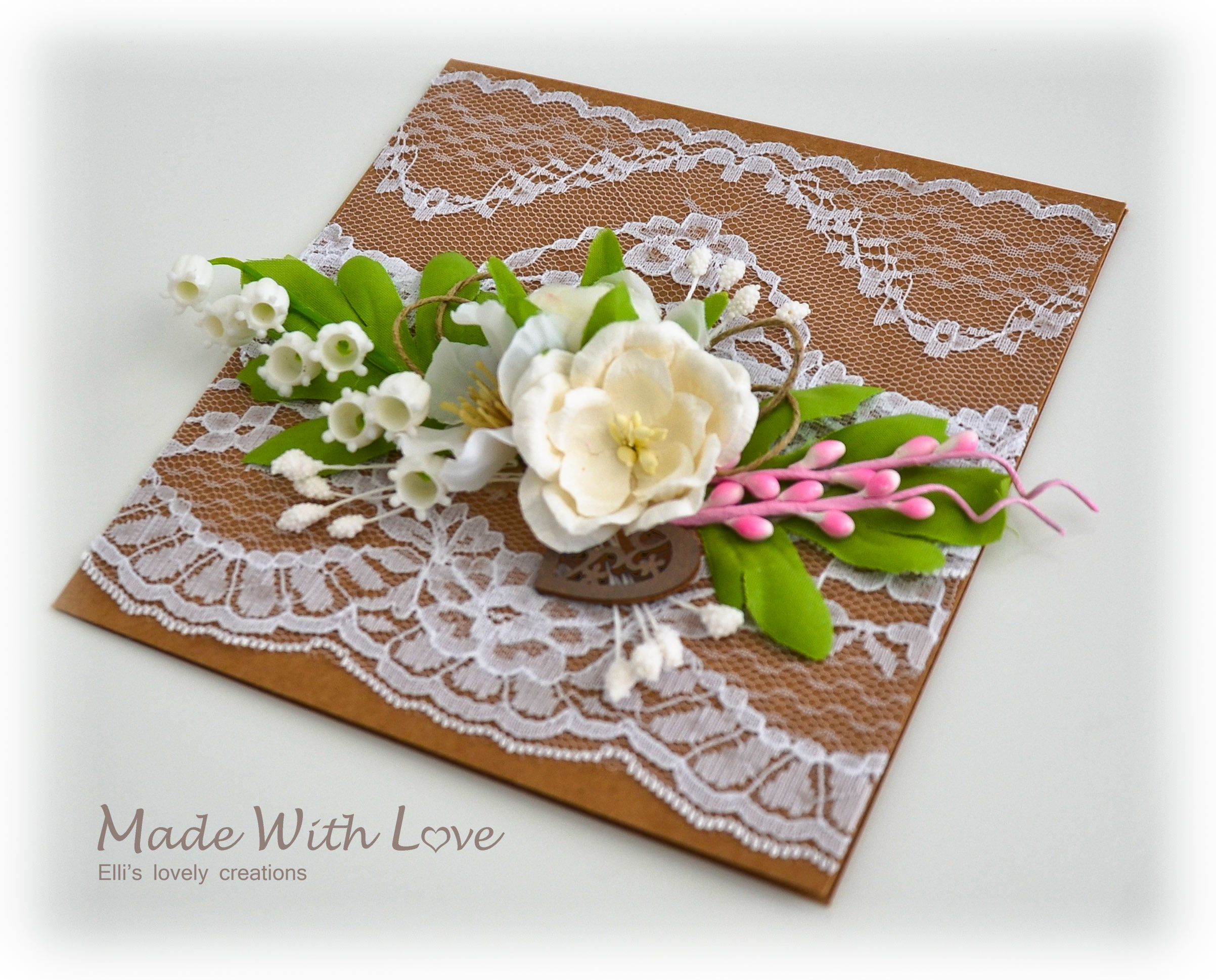 Rustic Floral Lace Wedding Card