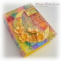 Mixed Media Book Box for a Newborn Girl 2