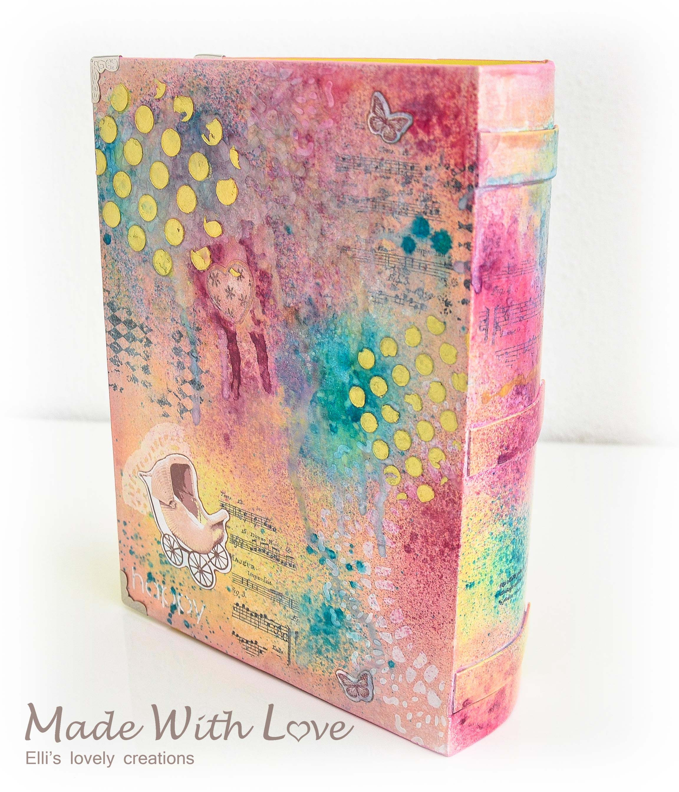 Mixed Media Book Box for a Newborn Girl 10