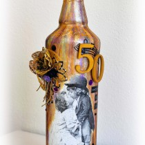 Mixed Media Decoupage Altered Bottle Golden Anniversary 1