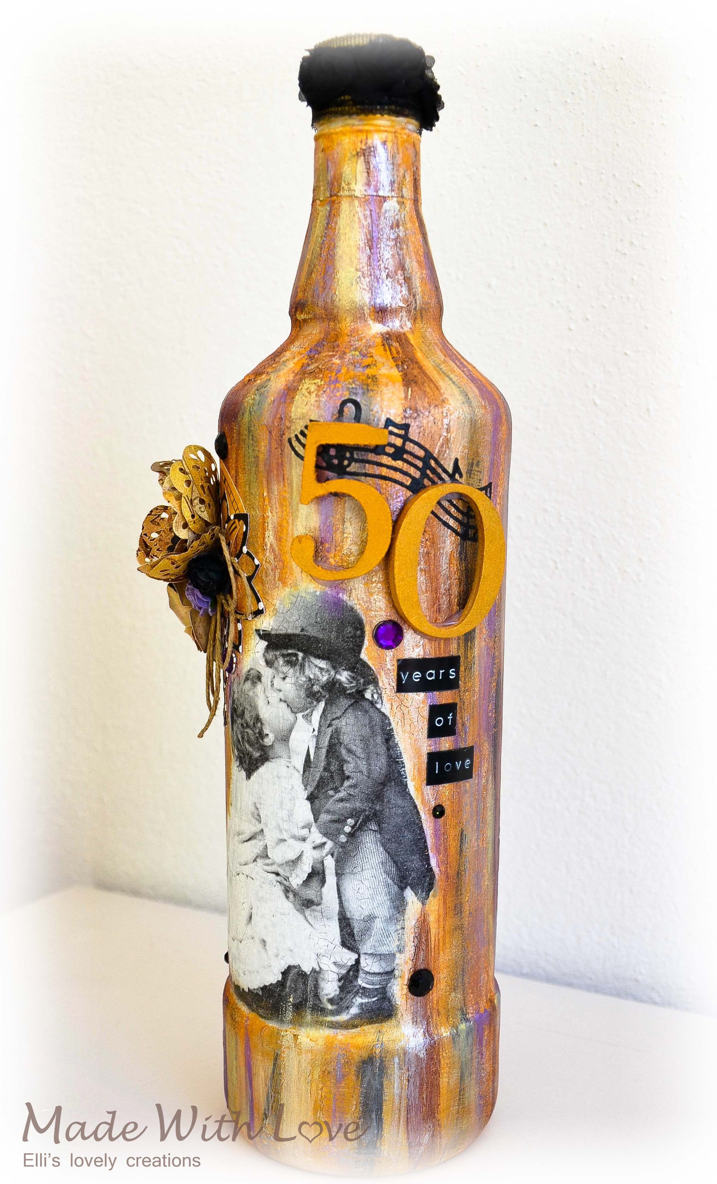 Mixed Media Decoupage Altered Bottle Golden Anniversary 3