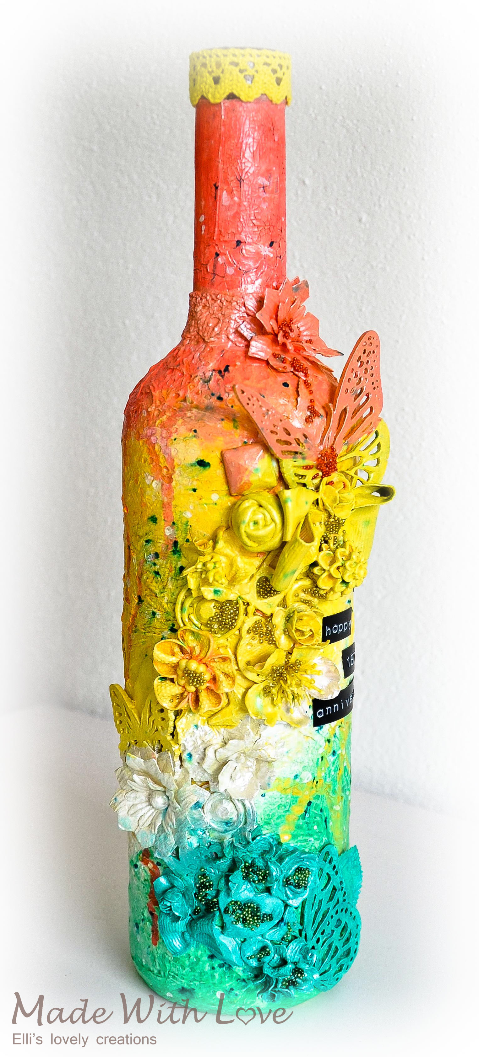 Mixed Media Altered Bottle First Anniversary 1
