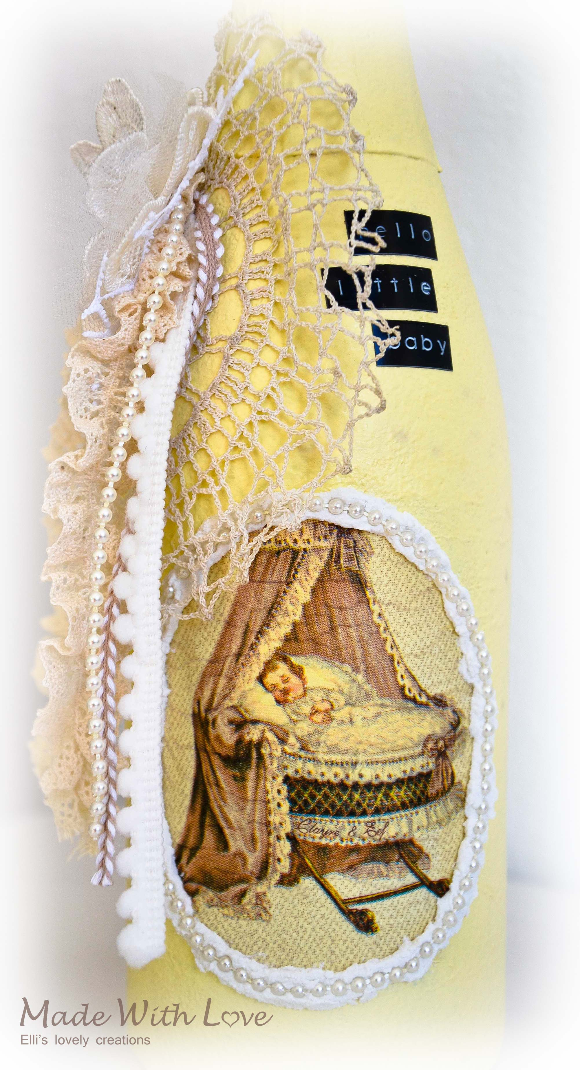 Shabby Chic Decoupage Altered Bottle Baby 6