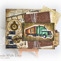Mixed Media Vintage Steampunk Masculine Card Happy Retirement 1