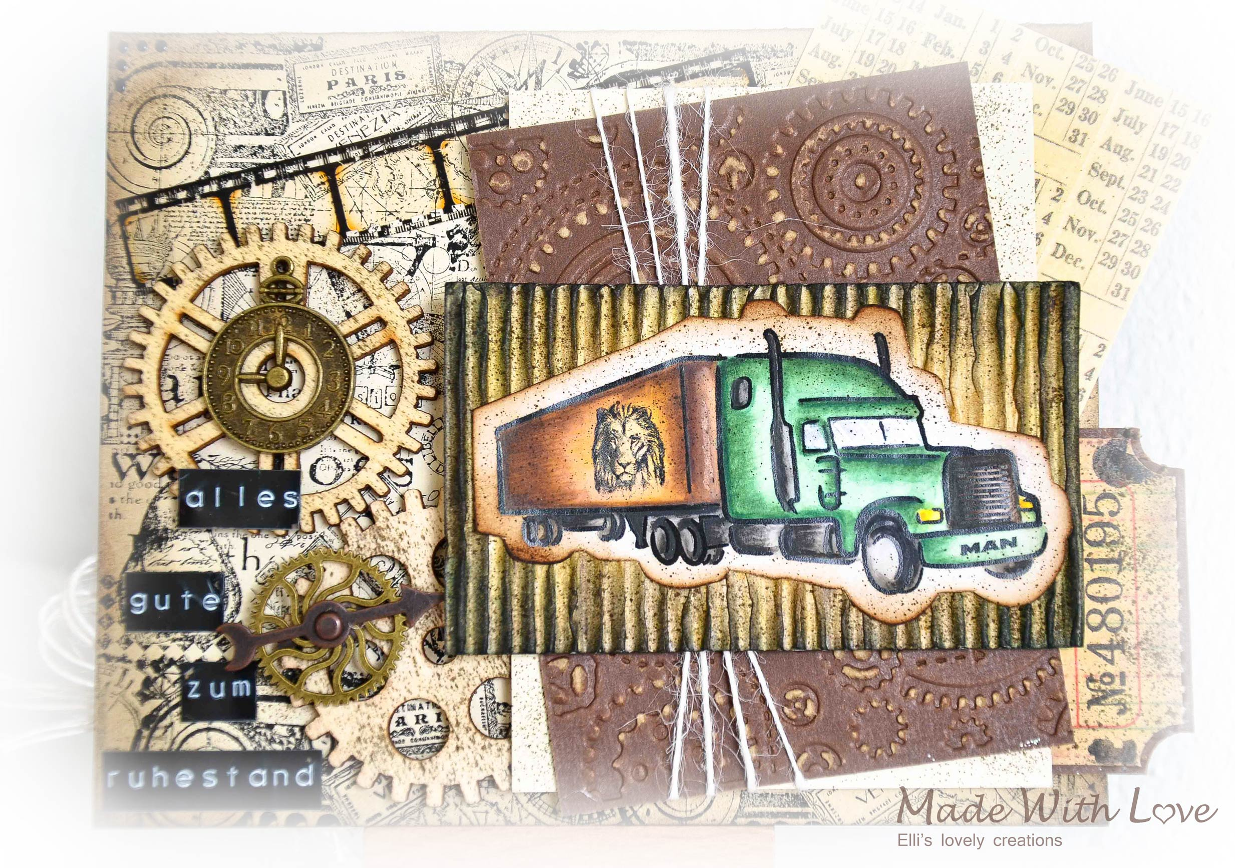 Mixed Media Vintage Steampunk Masculine Card Happy Retirement 2