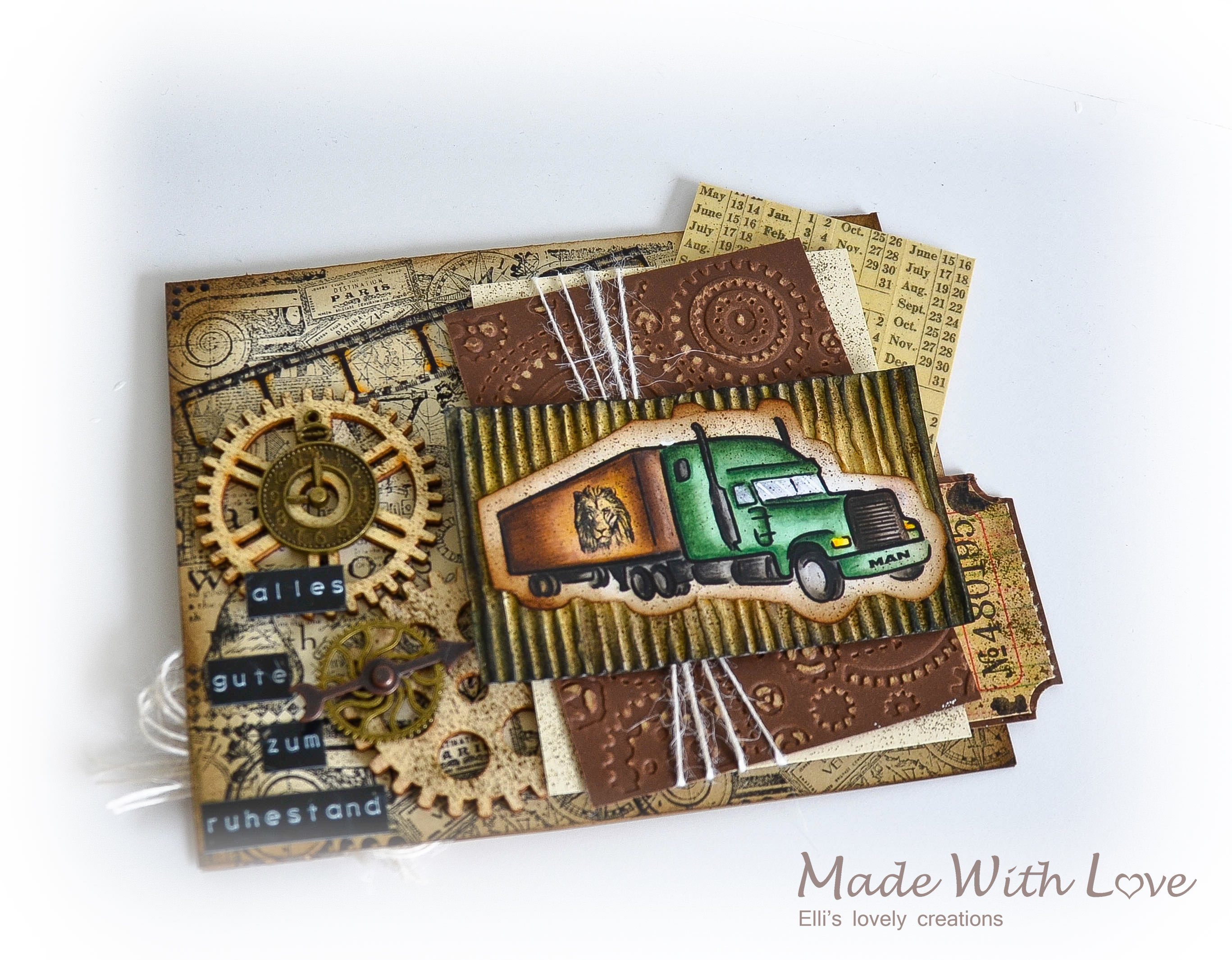 Mixed Media Vintage Steampunk Masculine Card Happy Retirement