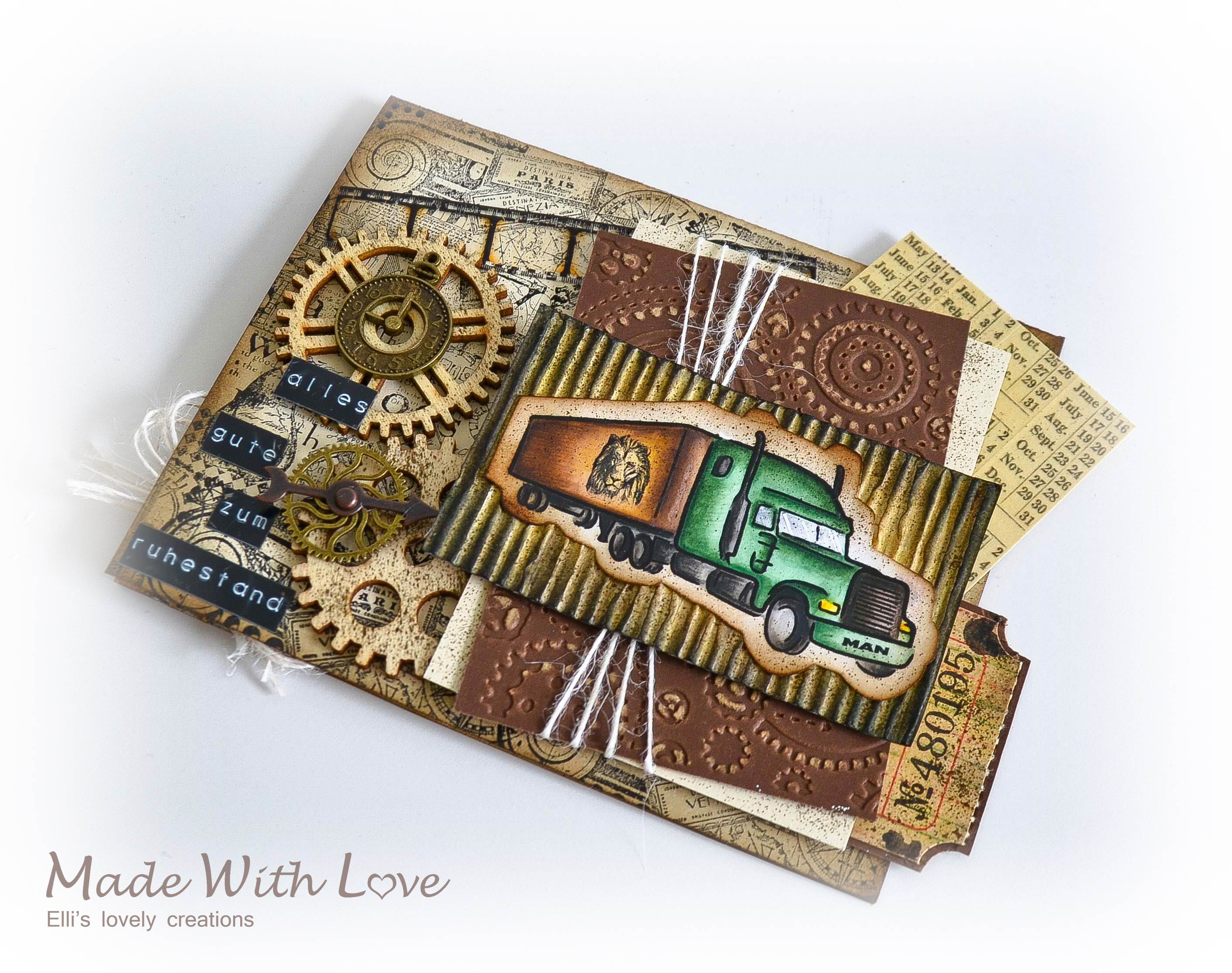 Mixed Media Vintage Steampunk Masculine Card HR 8