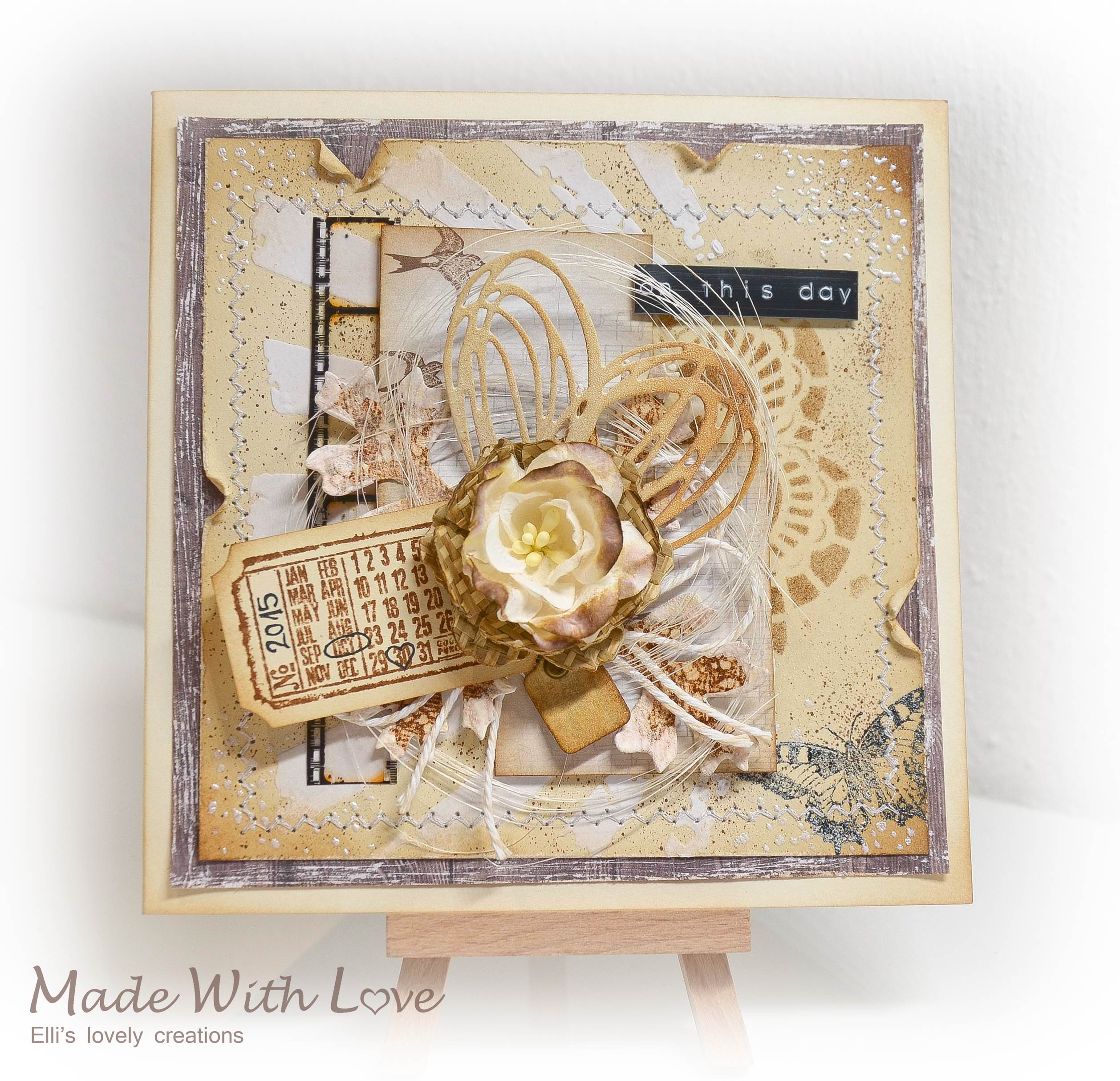 Mixed Media Vintage Wedding Card On This Day 1