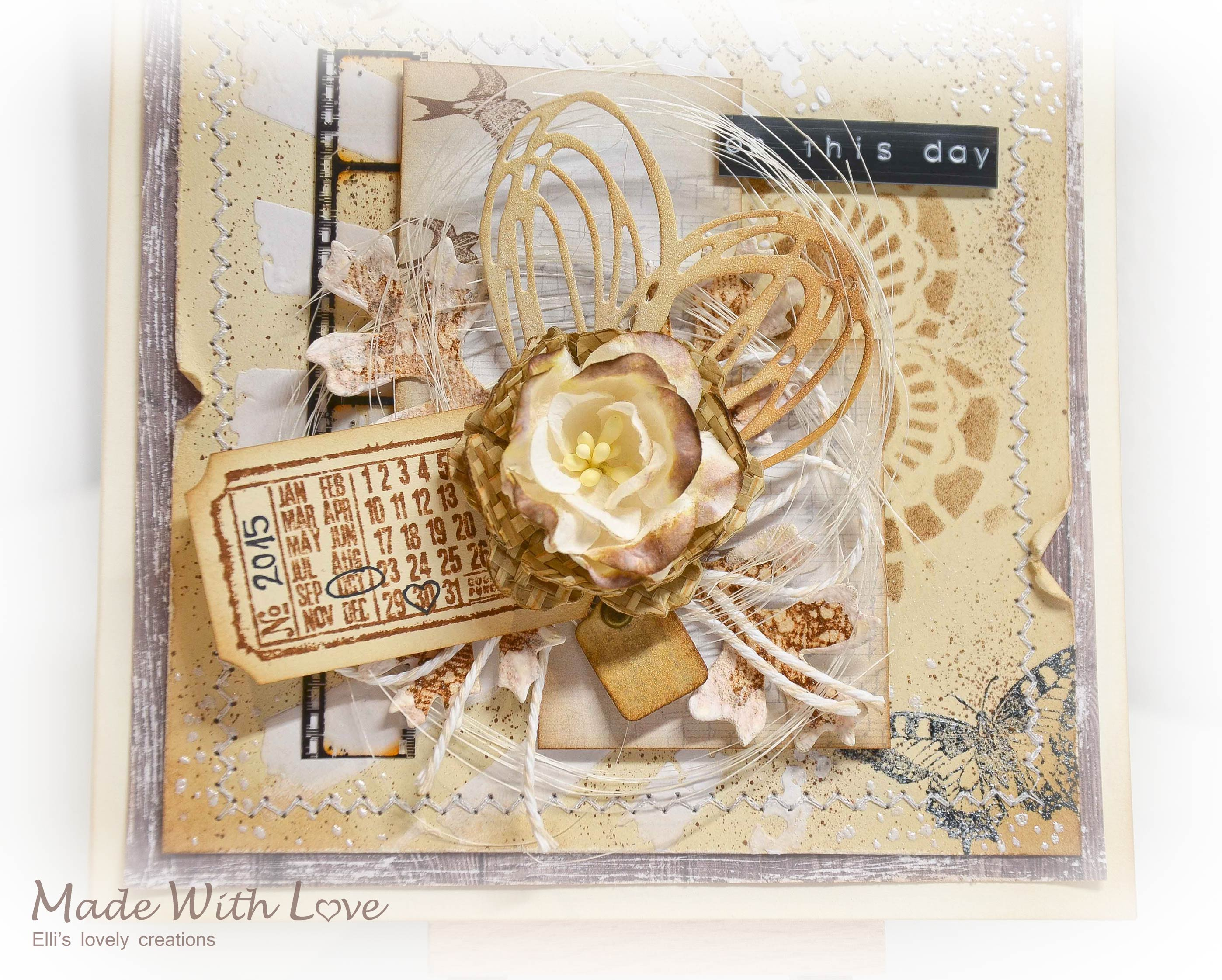Mixed Media Vintage Wedding Card On This Day 4