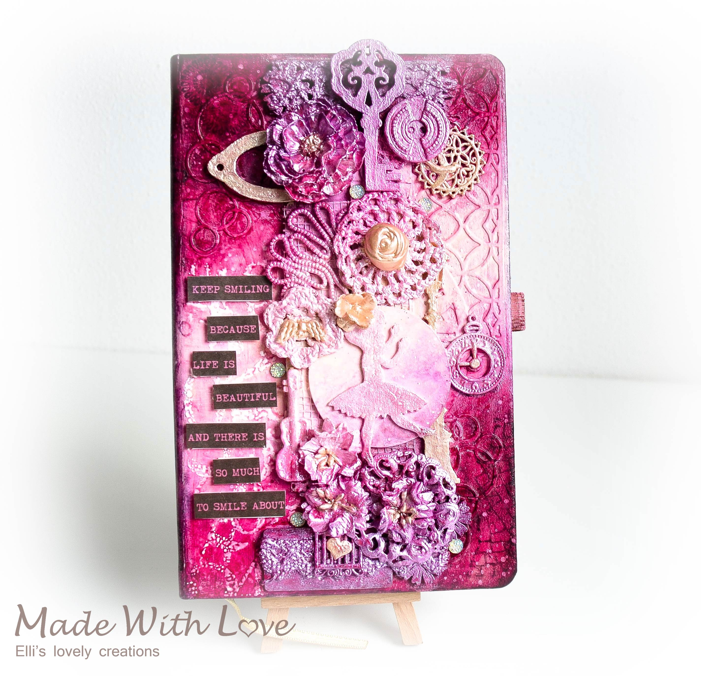 Mixed Media Notebook Journal Cover Keep Smiling 10