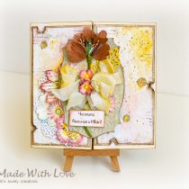 Mixed Media Watercolor Wedding Card Autumn Flowers 143