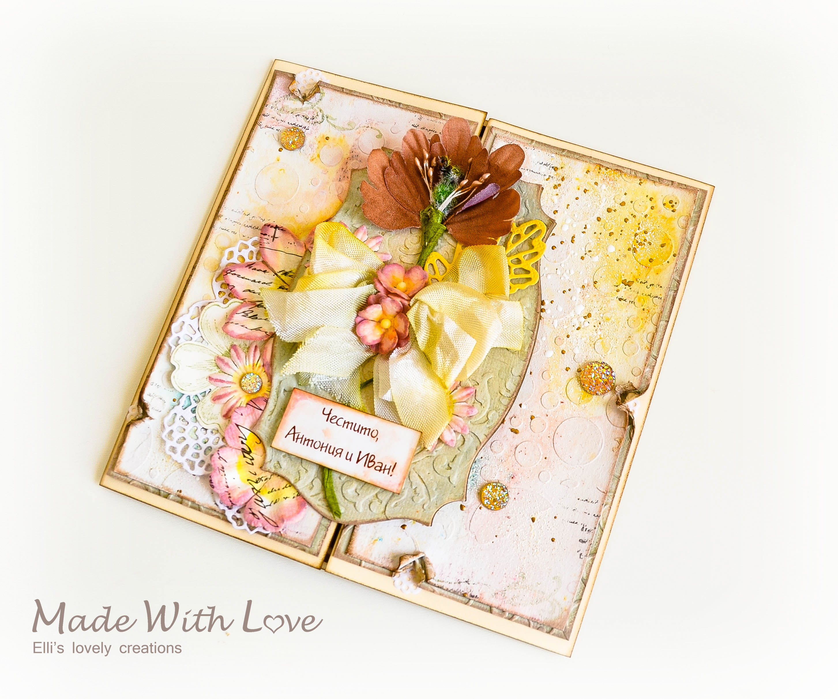 Mixed Media Watercolor Wedding Card Autumn Flowers 154