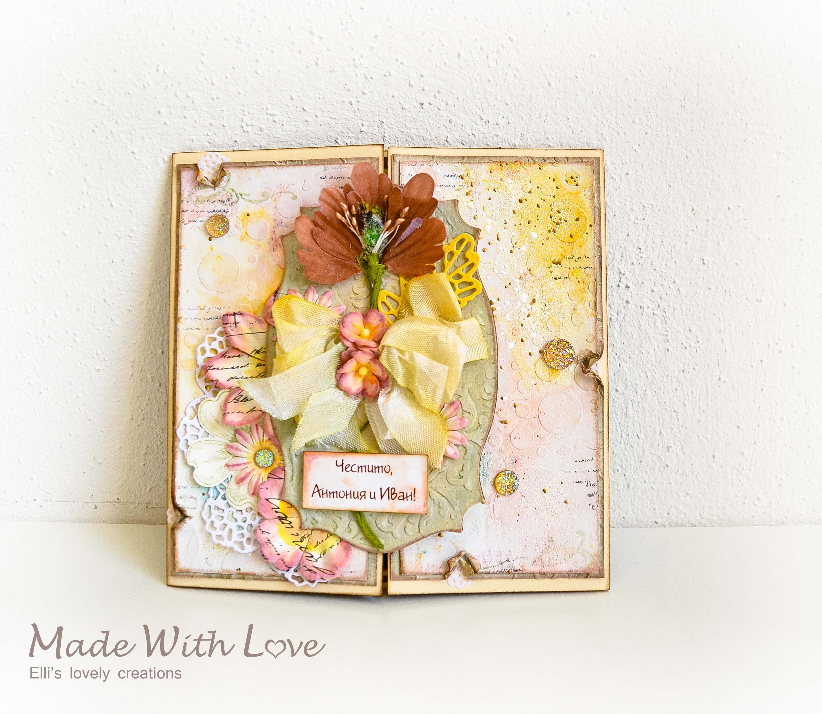 Mixed Media Watercolor Wedding Card Autumn Flowers 158