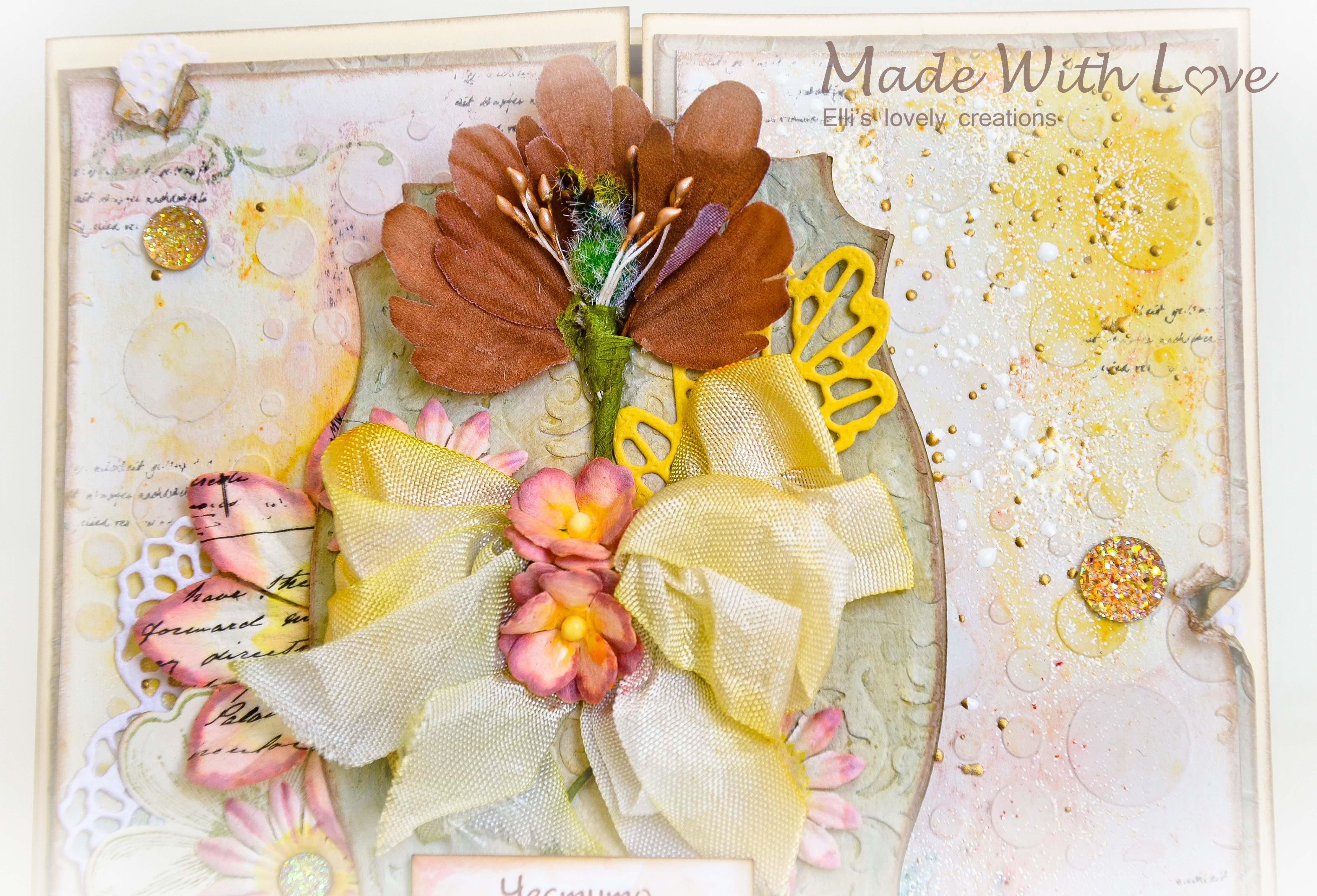 Mixed Media Watercolor Wedding Card Autumn Flowers 164