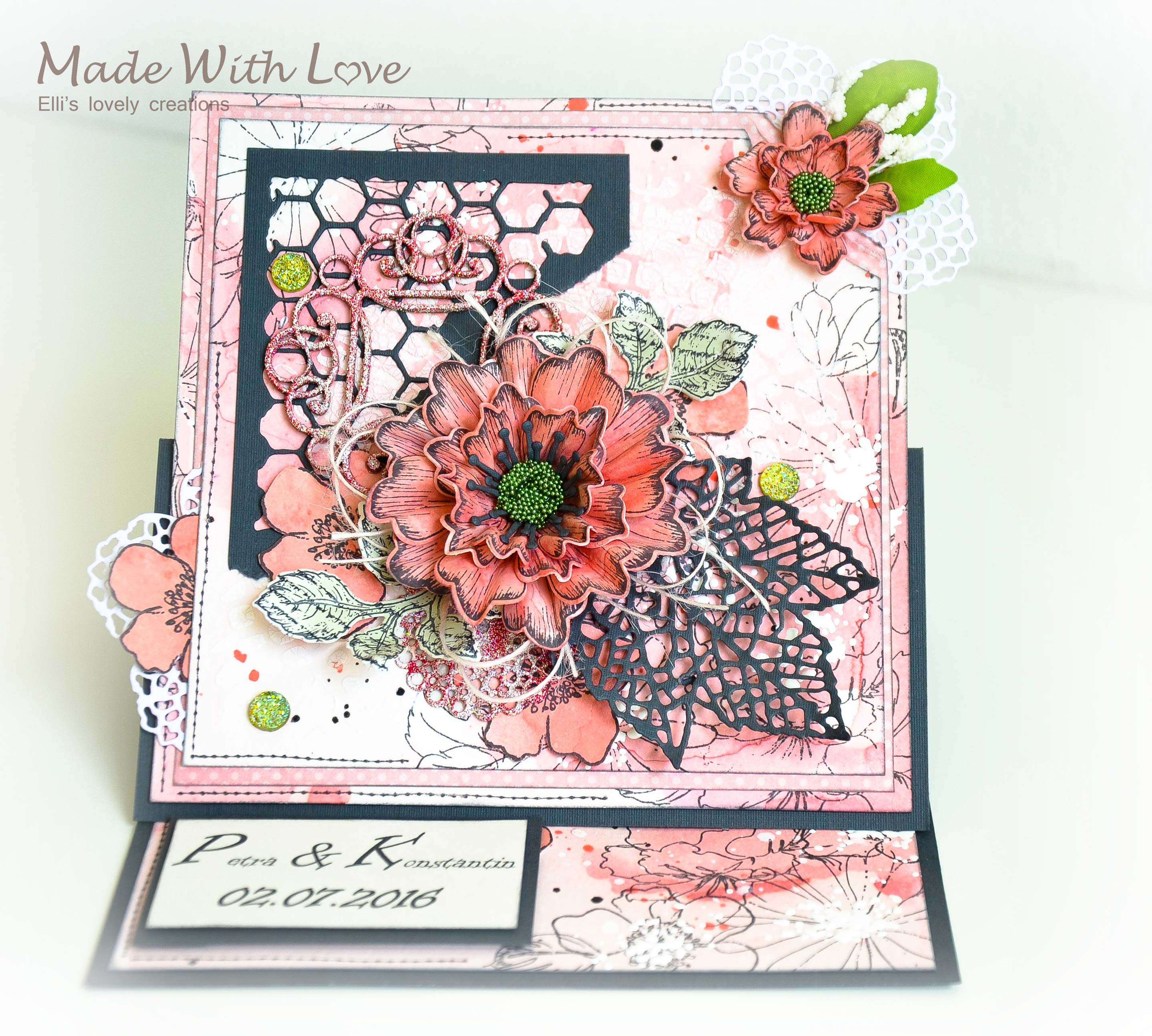 Mixed Media Watercolor Easel Wedding Card Coral Magic