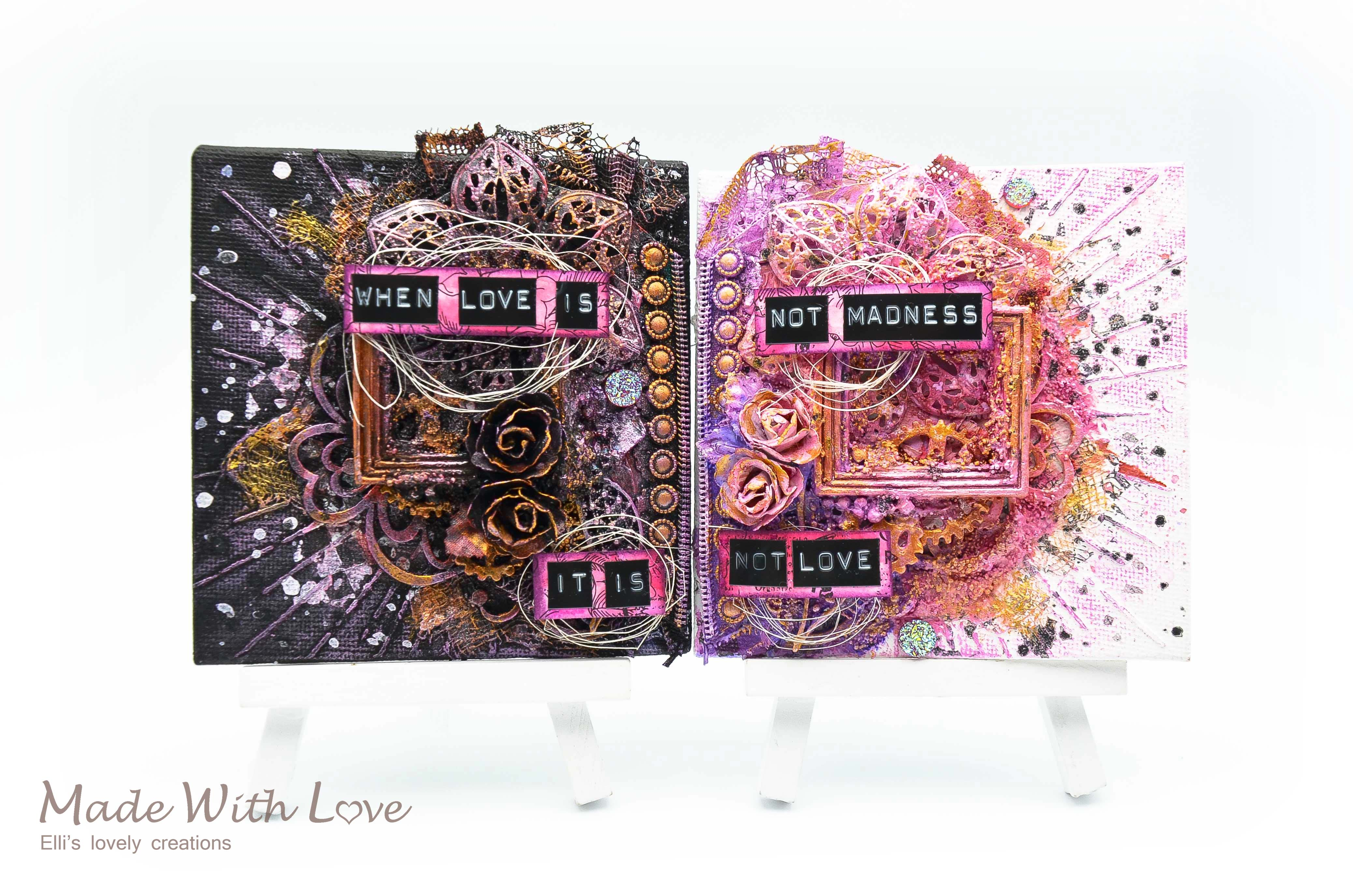 Mixed Media Mini Canvases Love Is Madness 1