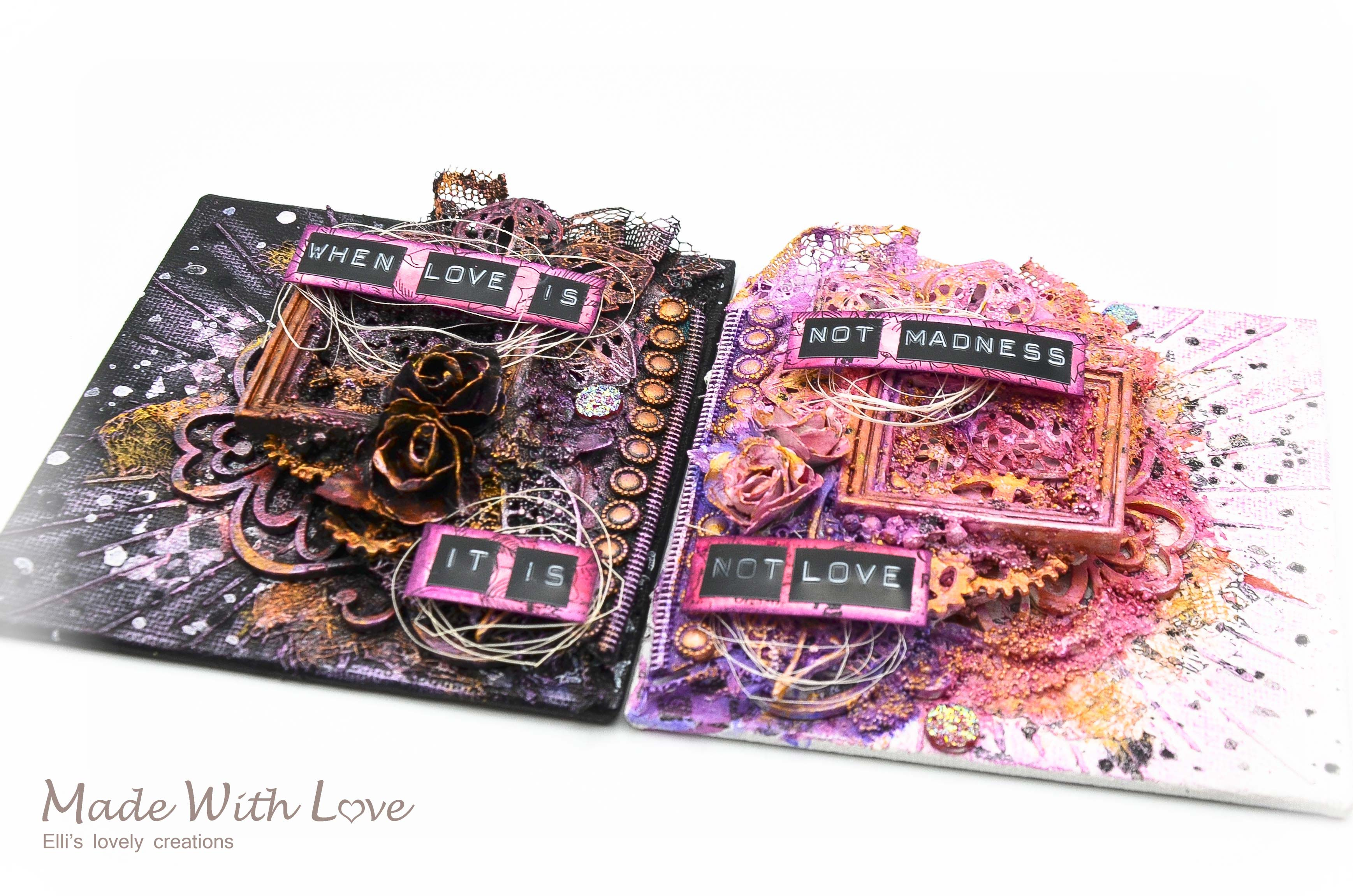 Mixed Media Mini Canvases Love Is Madness 6