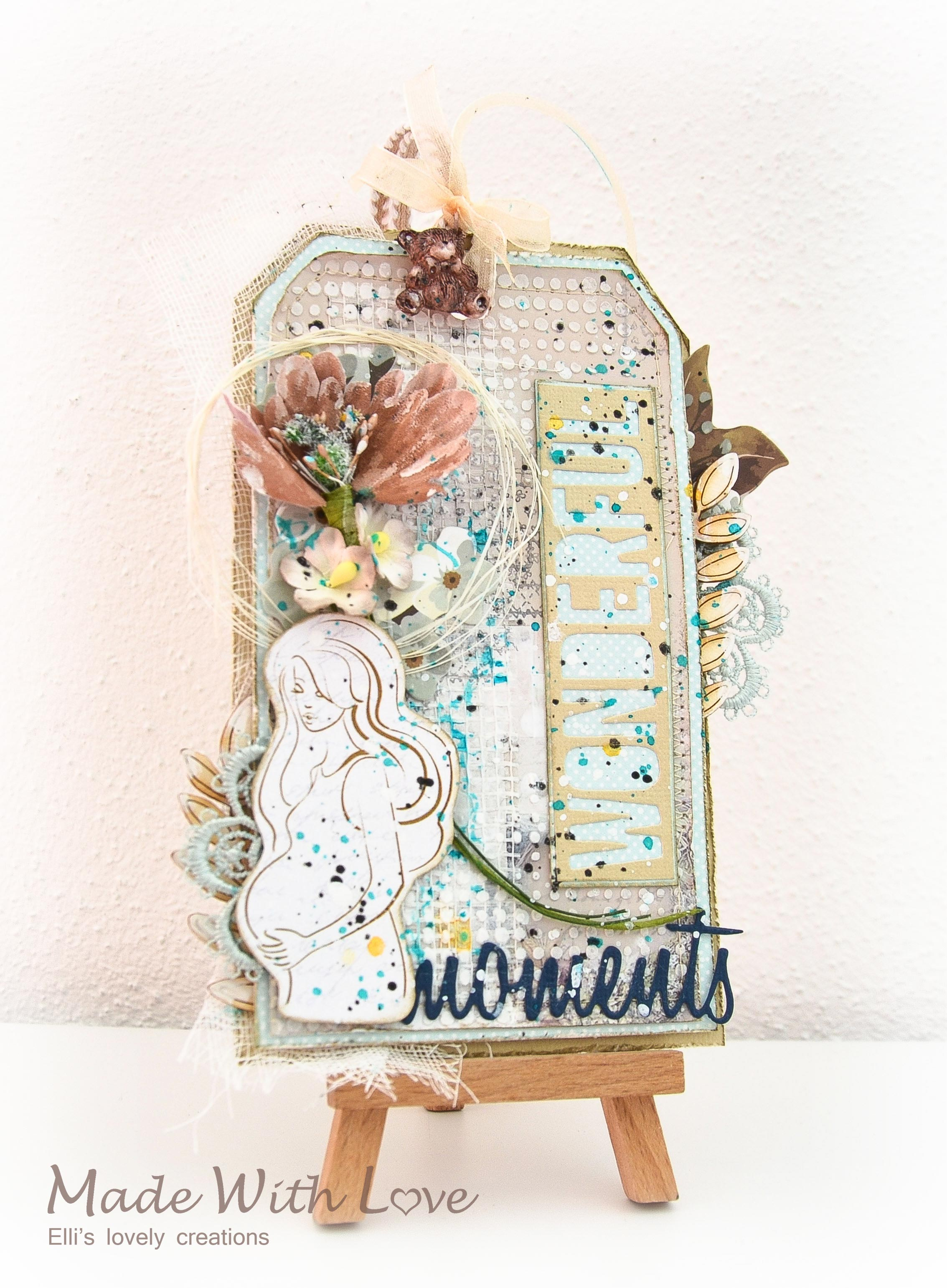 Mixed Media Baby Shower Party Tag Wonderful Moments 1