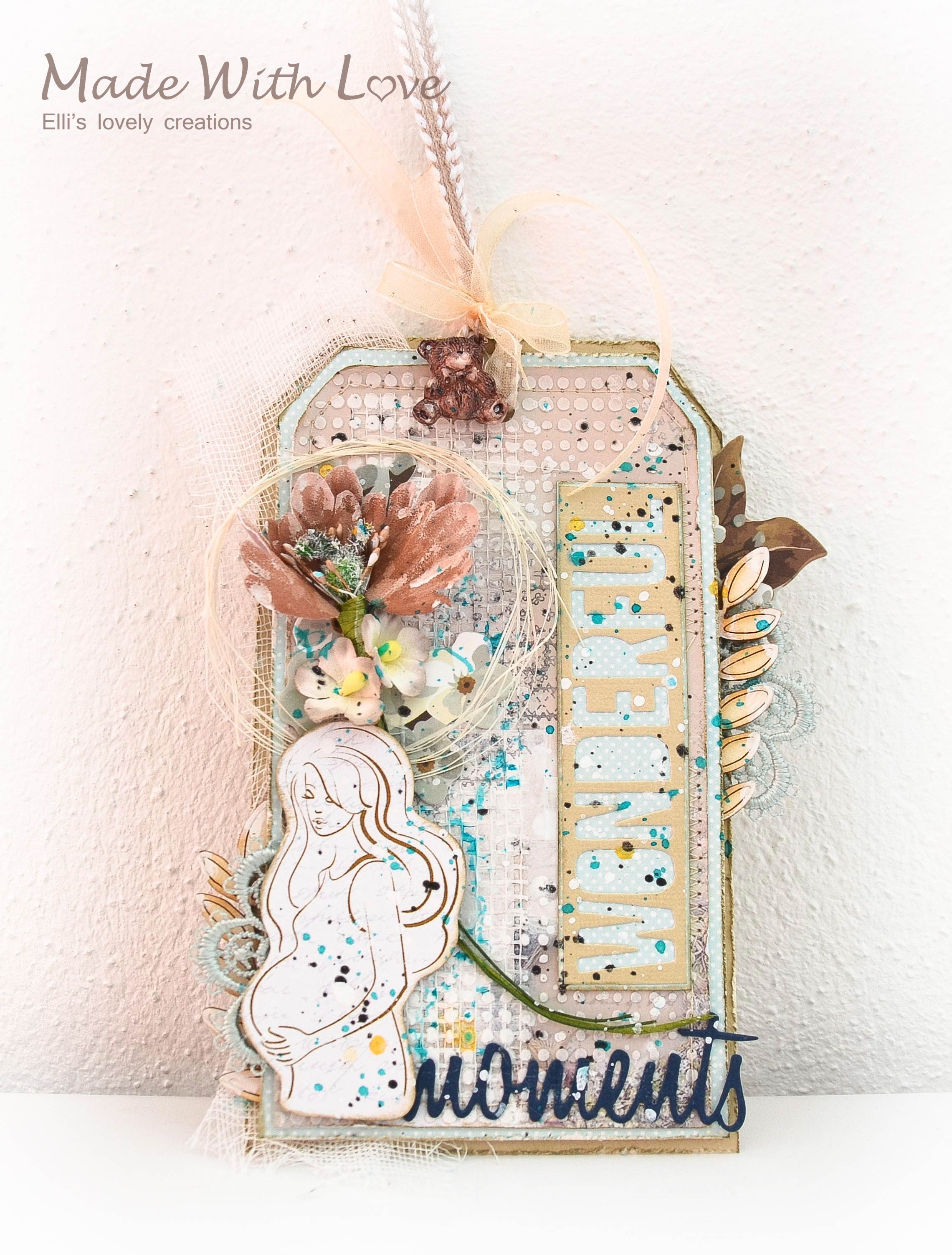 Mixed Media Baby Shower Party Tag Wonderful Moments 2