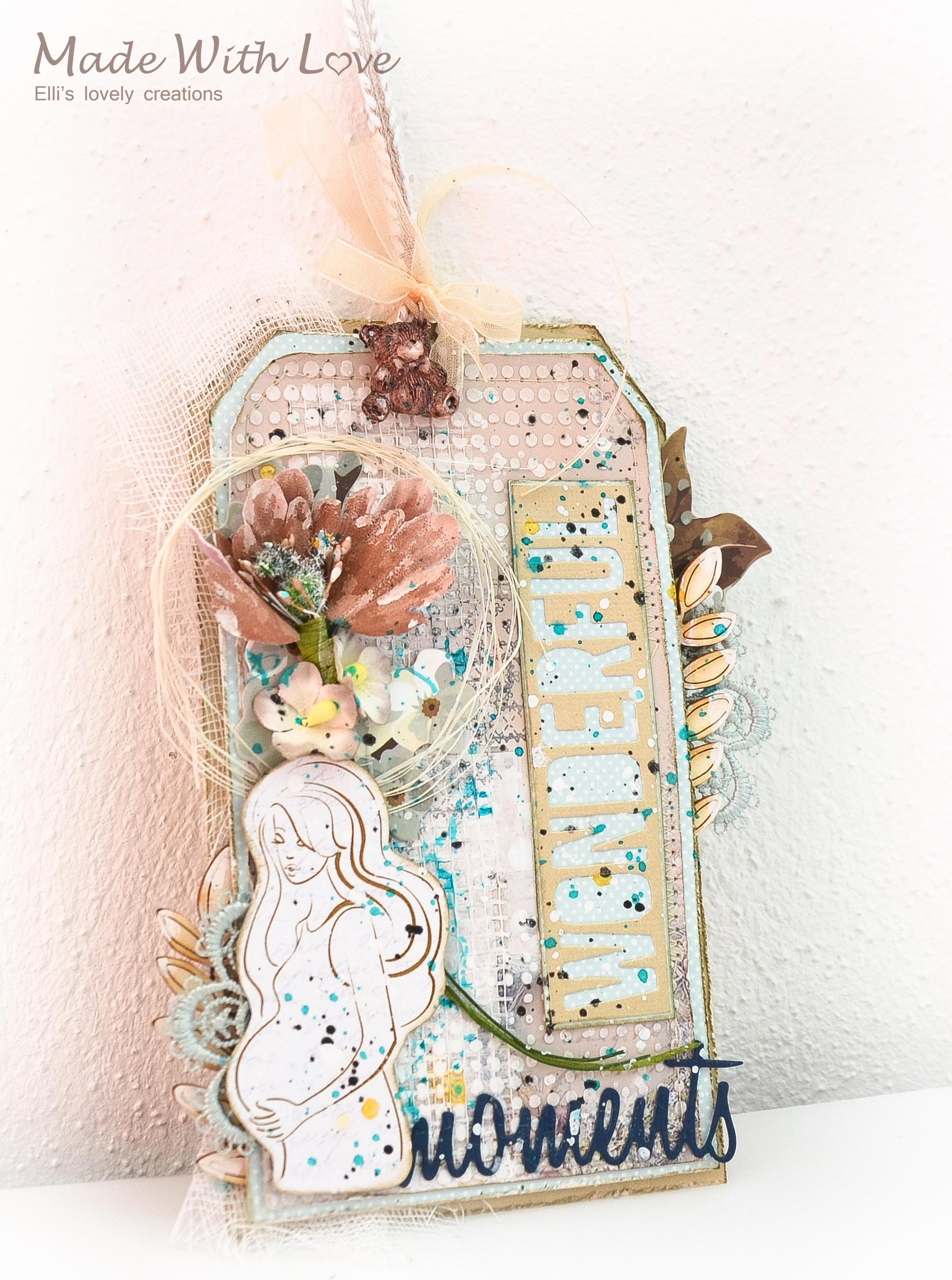 Mixed Media Baby Shower Party Tag Wonderful Moments 3
