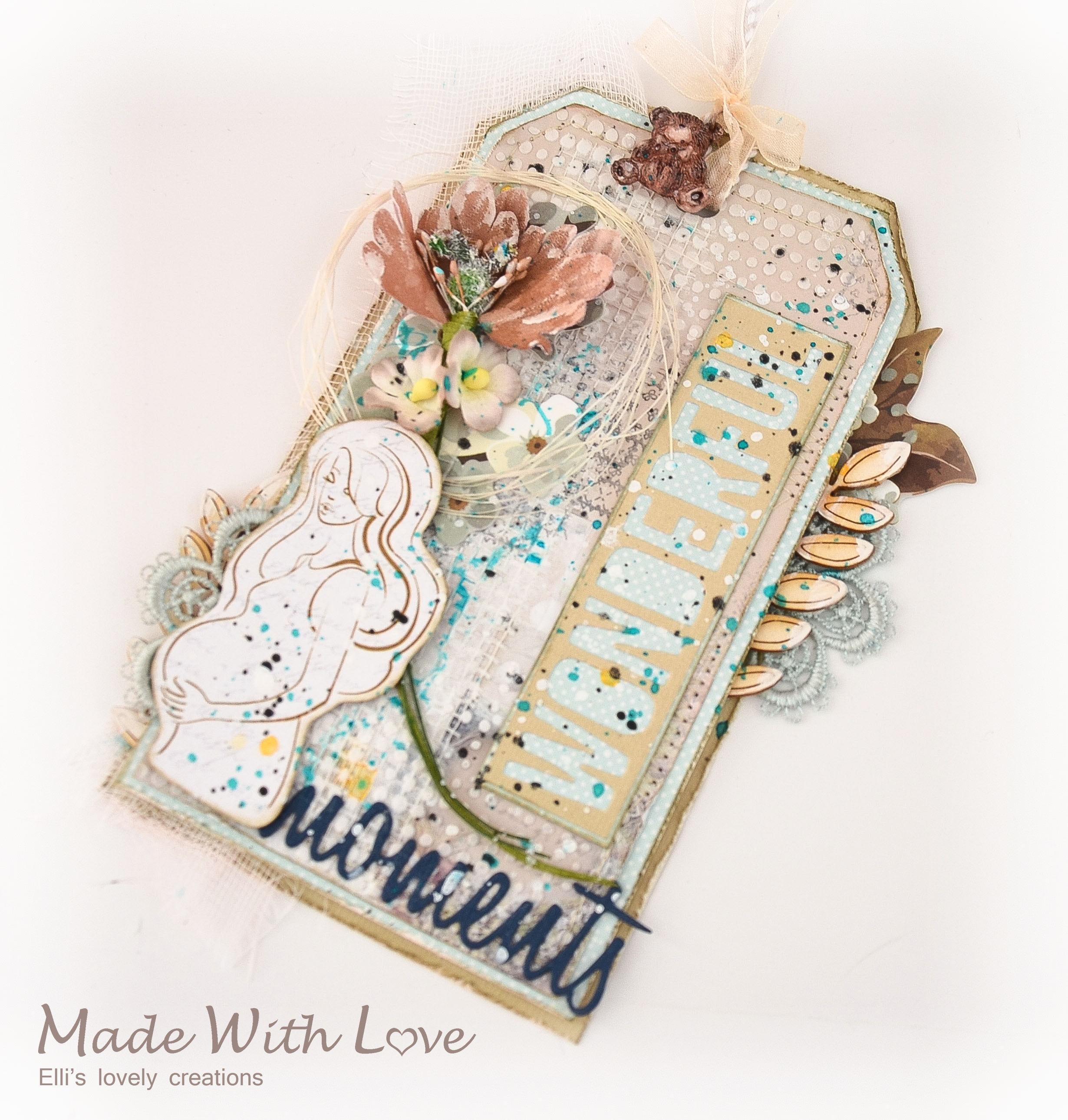 Mixed Media Baby Shower Party Tag Wonderful Moments 4