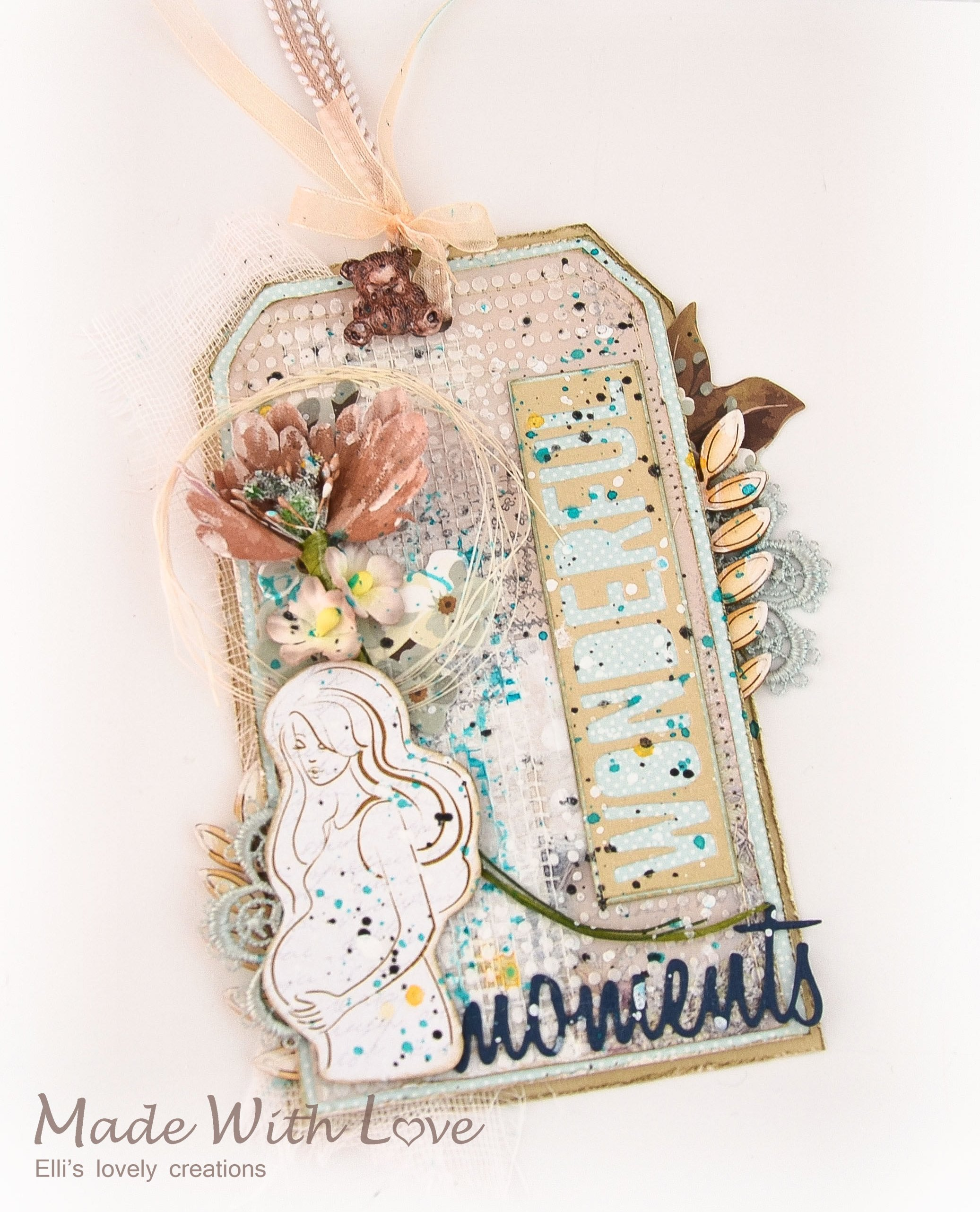 Mixed Media Baby Shower Party Tag Wonderful Moments 5