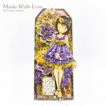 Watercolor Mixed Media Doll Tag a little bit of everything 1