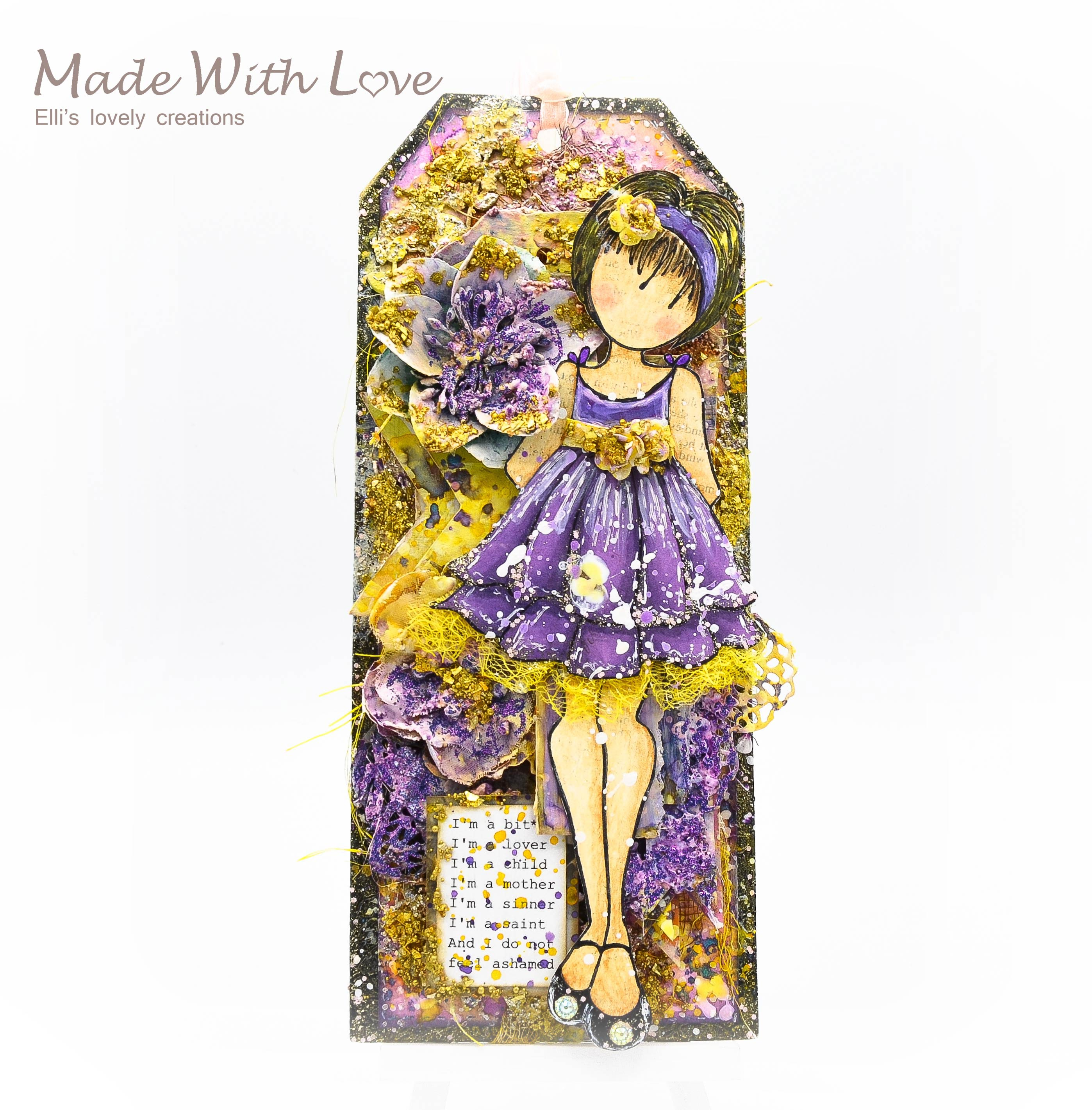Watercolor Mixed Media Doll Tag A Little Bit of Everything