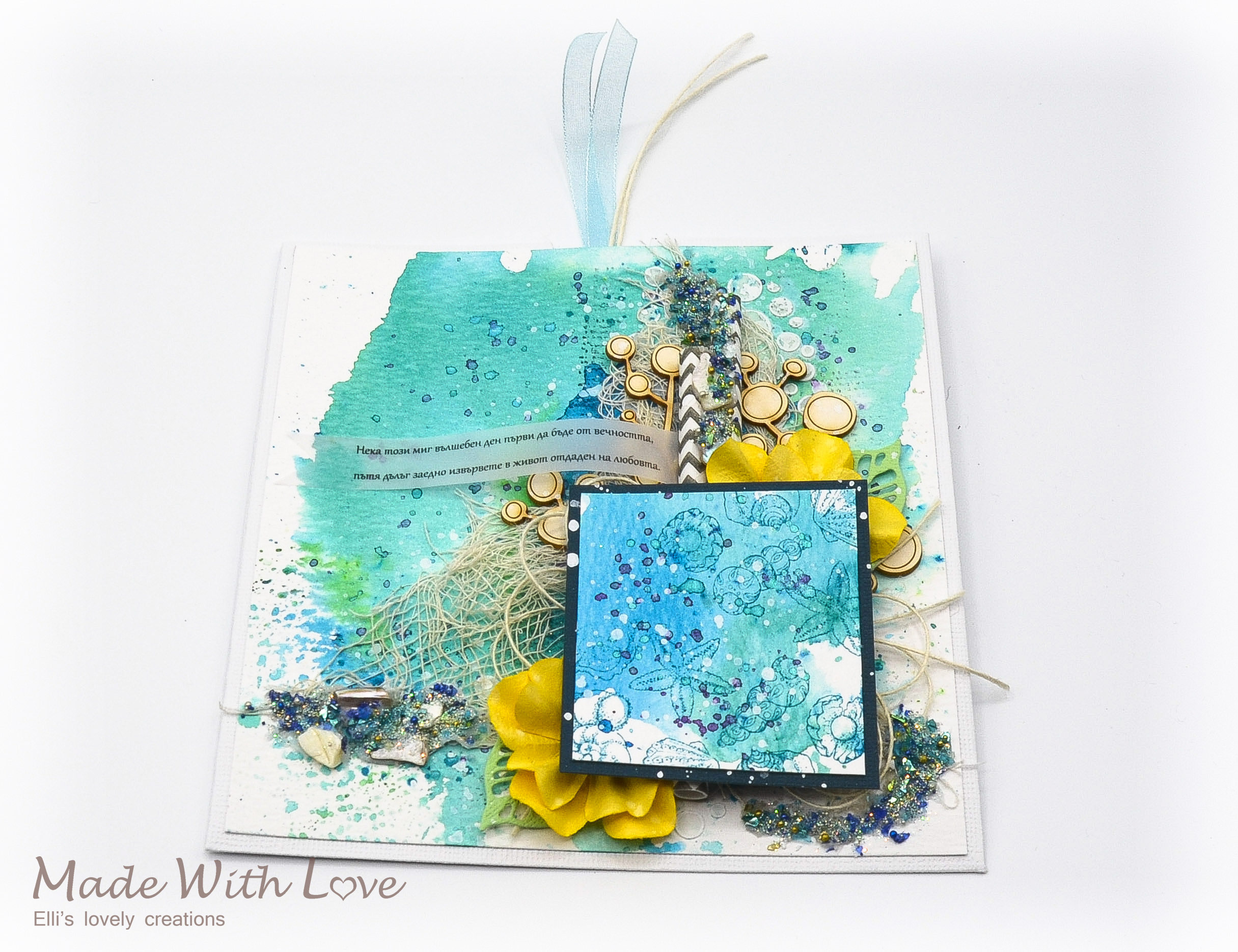 Mixed Media Watercolor Sea Card Day One of Eternity 8