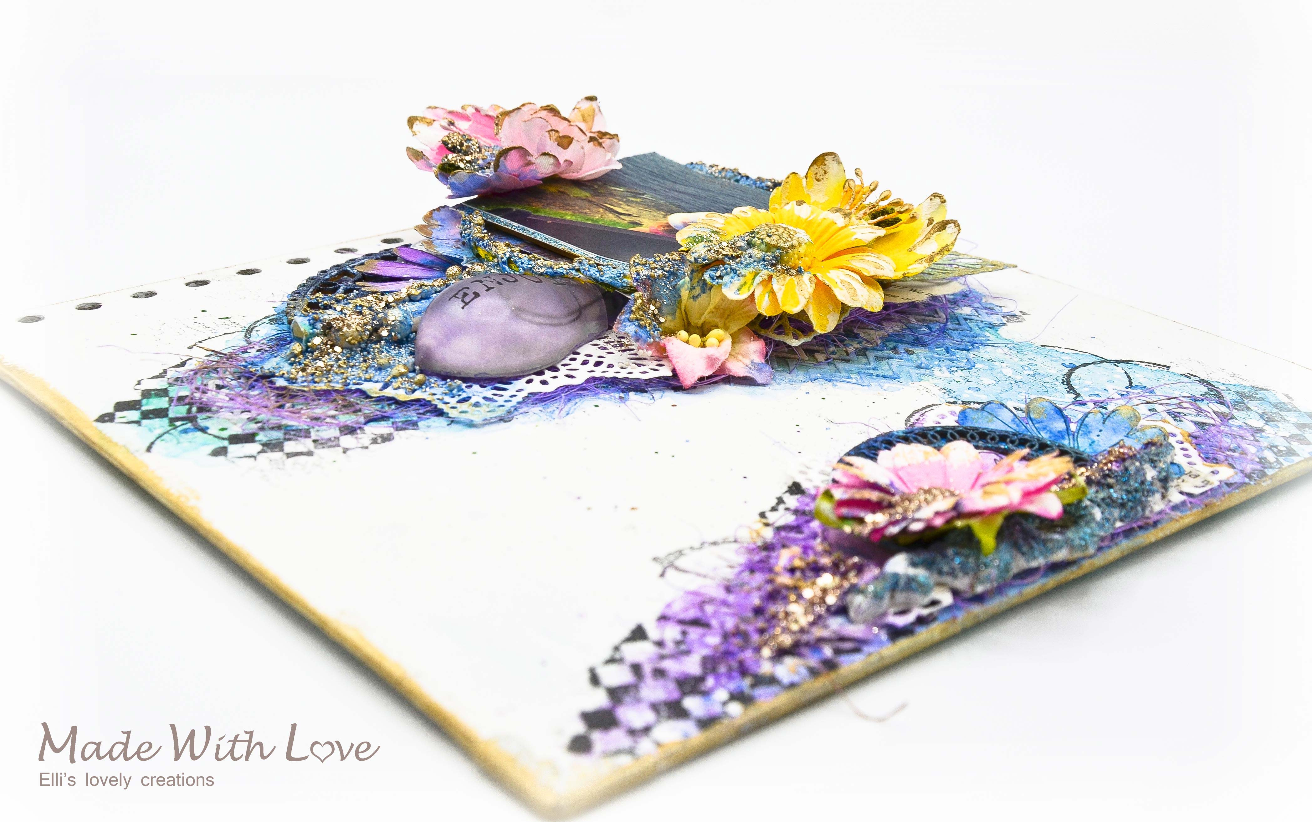 Mixed Media Summer Garden Wedding Album Cover Enjoy 0010