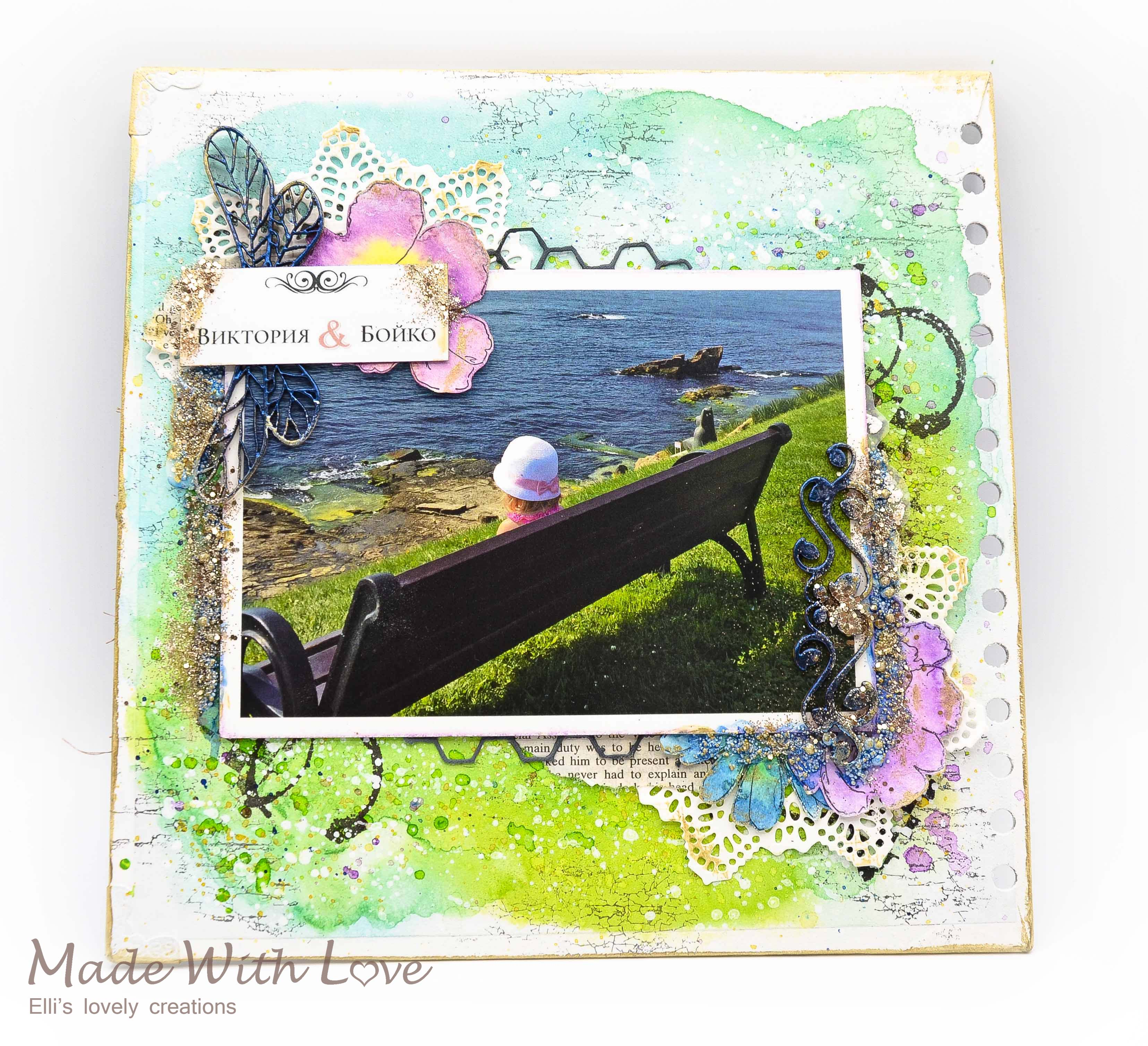 Mixed Media Summer Garden Wedding Album Cover Enjoy 0030
