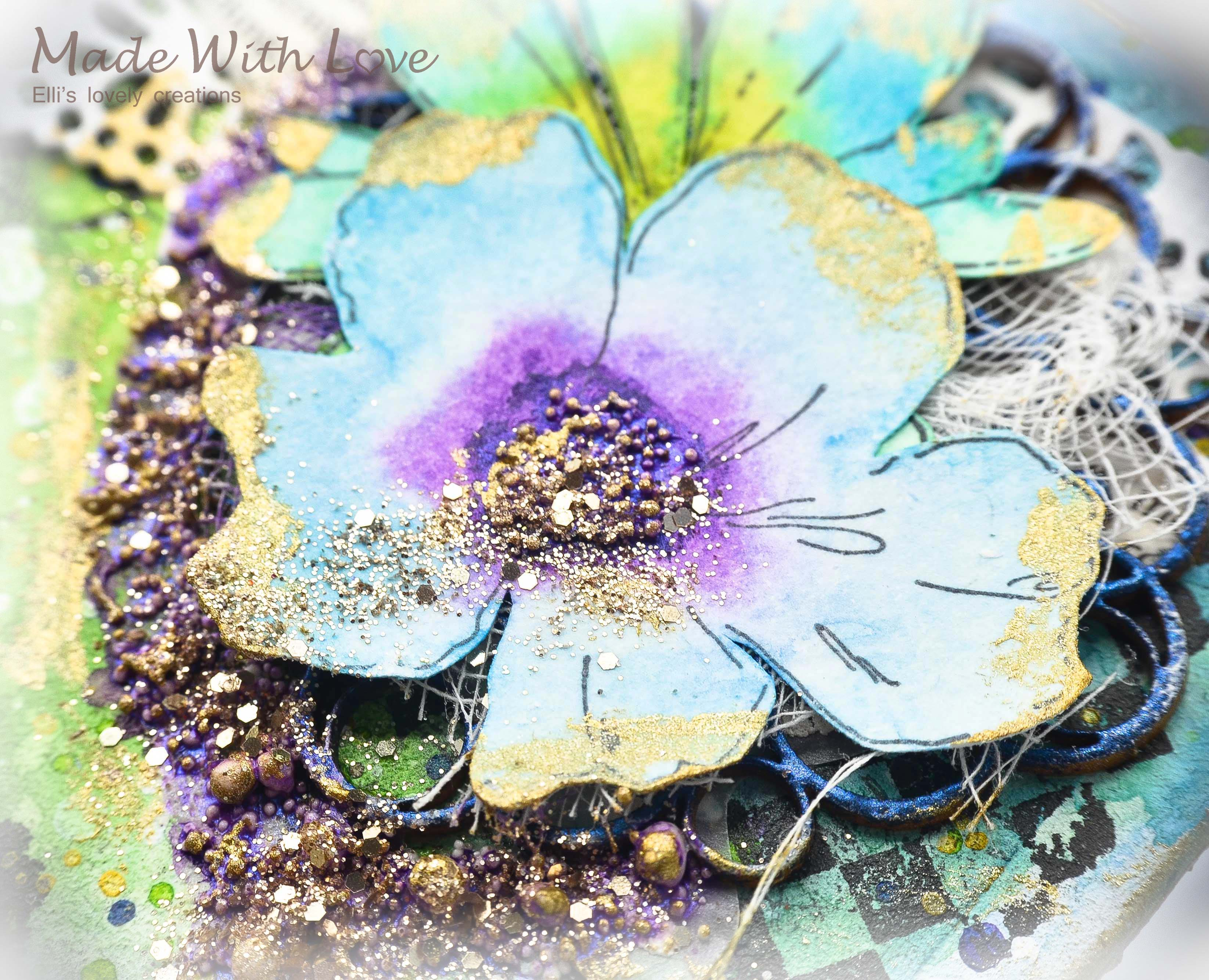 Mixed Media Summer Garden Wedding Album Cover Enjoy 0044