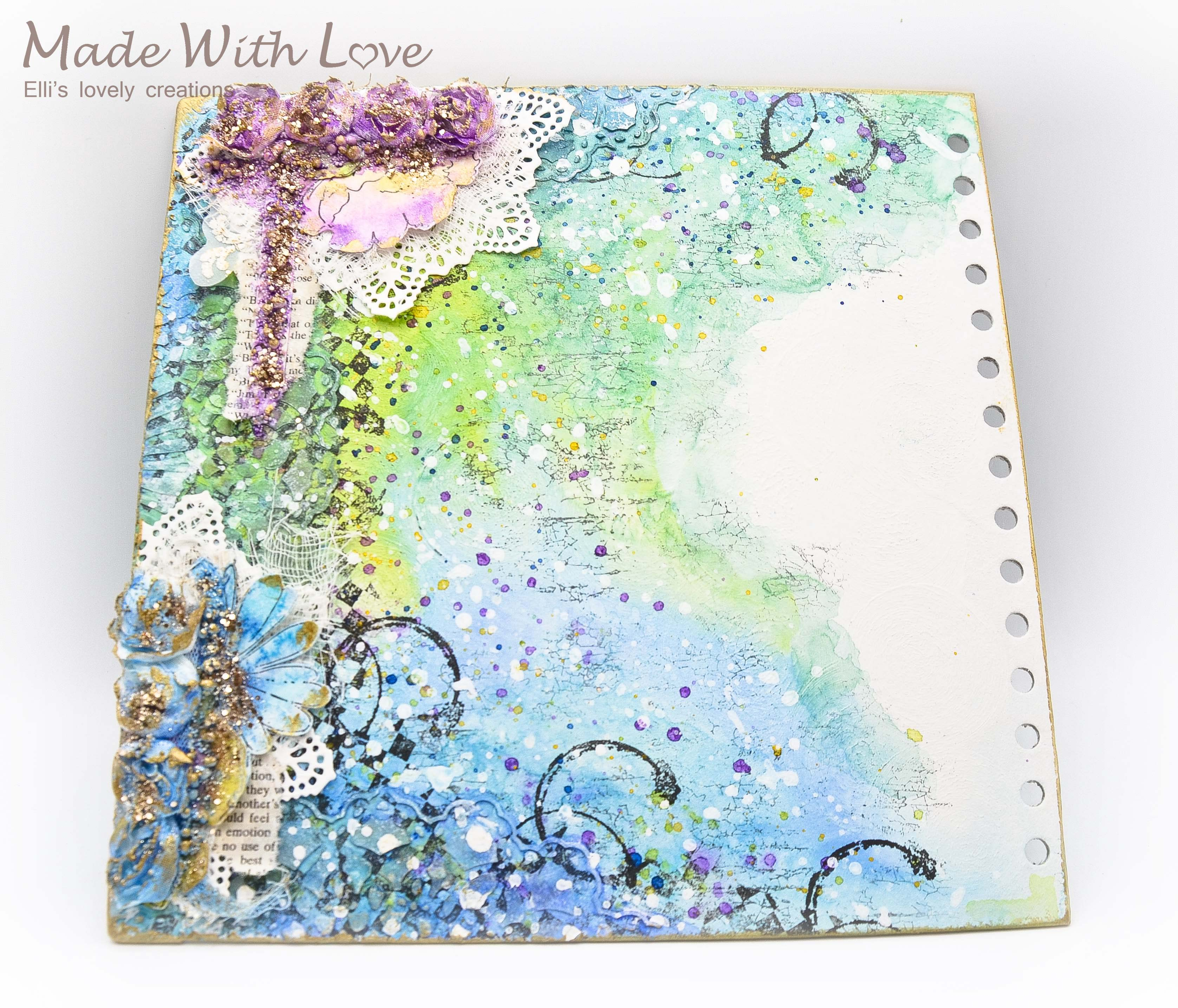 Mixed Media Summer Garden Wedding Album Cover Enjoy 0050